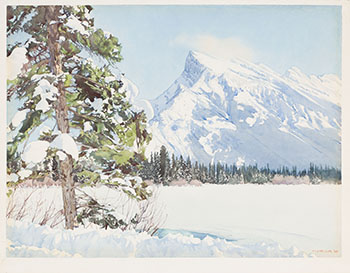Mt. Rundle in Winter by Walter Joseph (W.J.) Phillips
