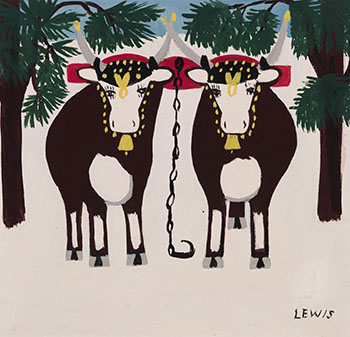 Two Oxen in Winter by Maud Lewis