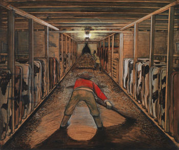 Cleaning the Cow Barn in Winter by William Kurelek