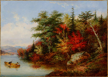Indians Approaching a Portage & Shooting a Deer (Lake St. Joseph, Quebec) by Cornelius David Krieghoff
