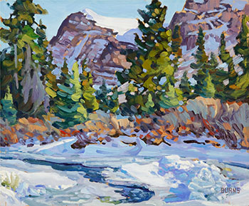 Crowfoot Glacier and Creek in Winter by Bill Burns