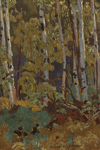 October Birches by Frank Hans (Franz) Johnston