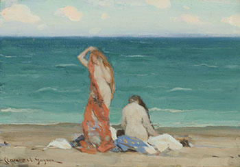 Two Nymphs on the Beach / White Painted Farmhouse (verso) by Clarence Alphonse Gagnon