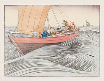 York Boat on Lake Winnipeg par Walter Joseph (W.J.) Phillips