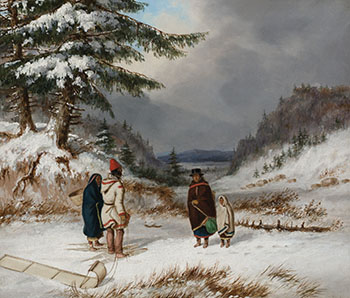 Indian Group in Winter Landscape by Cornelius David Krieghoff