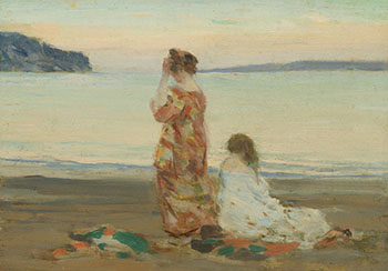 On the Beach of Baie St. Paul by Clarence Alphonse Gagnon