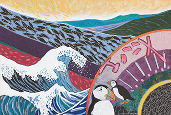 Sky Fan, Hokusai Wave and Puffins par Anne Meredith Barry