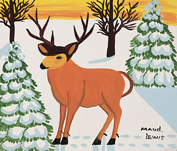Deer in Winter par Maud Lewis