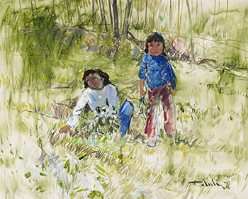 Two Children in a Field by Arthur Shilling
