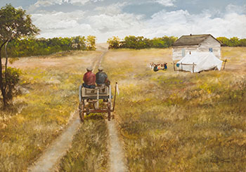 Wagon and Washing by Allen Sapp