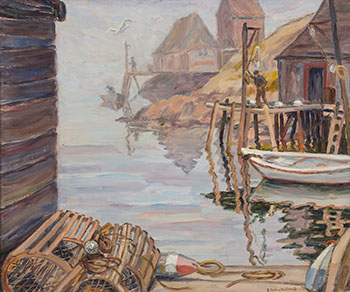 Morning Fog, Peggy's Cove by Elisabeth (Betty) Roberta Galbraith-Cornell