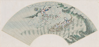 Fan Painting of Female Immortals, 19th Century by  Chinese School