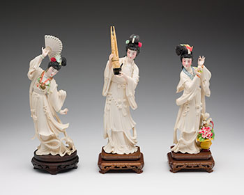 Group of Three Chinese Tinted Ivory Carved Maidens, circa 1955 by  Chinese Art
