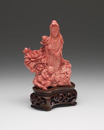 A Chinese Coral Carved Figure of Guanyin by  Chinese Art