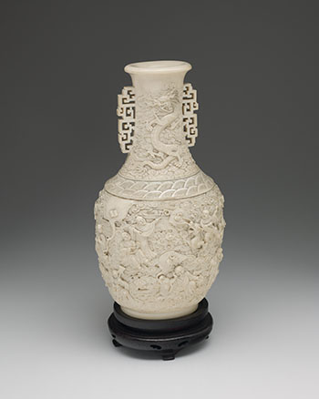 A Large Chinese Ivory Carved '18 Lohan' Vase, First Half 20th Century by  Chinese Art