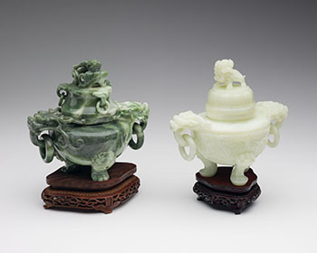 A Pale Celadon Jade and a Green Jadeite Tripod Censer and Cover, Mid-20th Century by  Chinese Art
