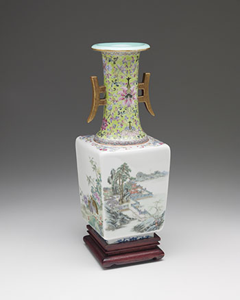 A Chinese Famille Rose 'Landscape and Fauna' Faceted Vase, Qianlong Mark, Republican Period (1911-1949) by  Chinese Art
