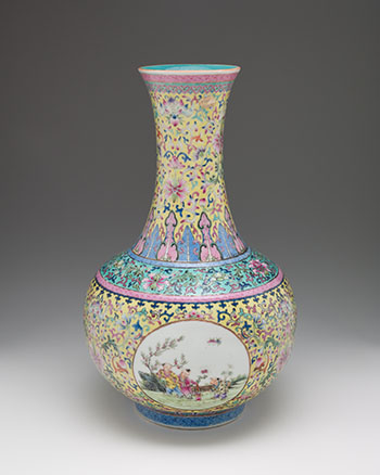 A Chinese Yellow Ground Famille Rose 'Boys' Vase, Tianquiping, Qianlong Mark,