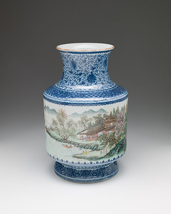 A Chinese Blue, White and Famille Rose 'Landscape' Lantern Vase, Qianlong Mark, Republican Period (1911-1949) by  Chinese Art