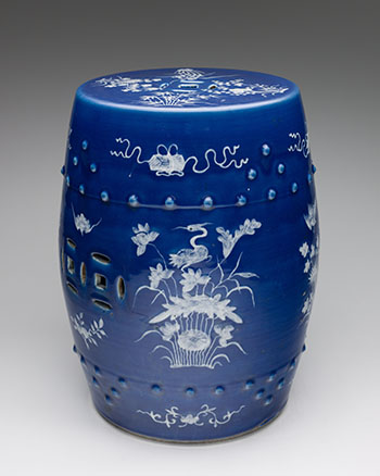 A Chinese Swatow Reverse Blue and White Barrel Stool, Late Qing Dynasty, circa 1900 by  Chinese Art