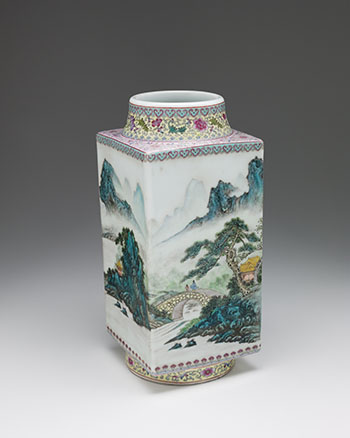 A Chinese Famille Rose 'Landscape' Vase, Qianlong Mark, Republican Period (1911-1949) by  Chinese Art