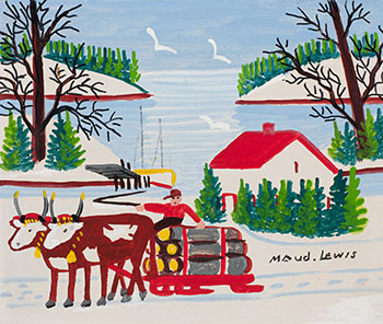 Oxen Hauling Logs, Winter by Maud Lewis