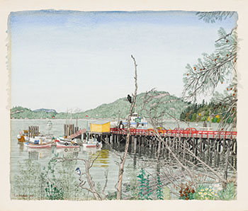 Government Wharf at Crofton, BC by Edward John (E.J.) Hughes