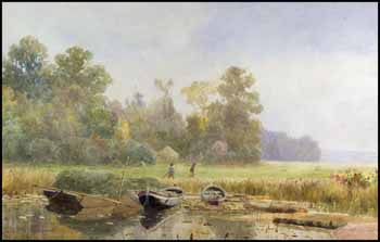 Boats Drawn up on the River Bank by Lucius Richard O'Brien