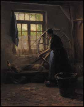 Woman with Spinning Wheel by Paul Peel