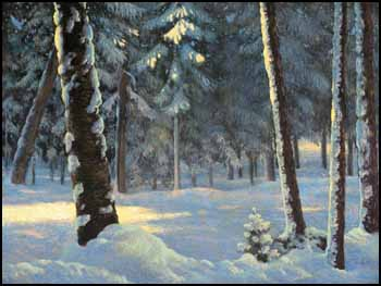 Sunlit Trees in Winter by Frank Hans (Franz) Johnston