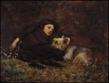 Young Girl with Terrier by Paul Peel