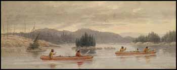 Indians Traveling by Canoe by Frederick Arthur Verner
