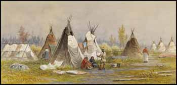 Ojibwa Wigwams, Time of Treaty with Governor, 1873 by Frederick Arthur Verner