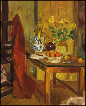 Oranges, Daffodils and Easel by William Goodridge Roberts