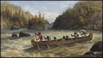 Indians Shooting the Rapids by Frederick Arthur Verner