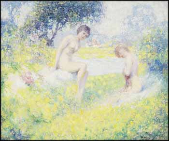 Two Nudes in a Landscape by William Henry Clapp