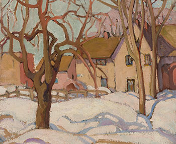 Farmhouse and Snow Shadows by Henrietta Mabel May