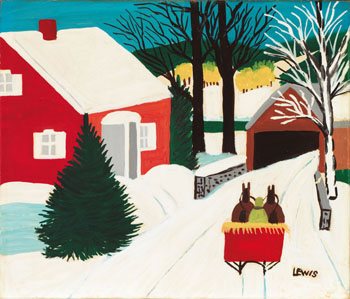Covered Bridge in Winter by Maud Lewis