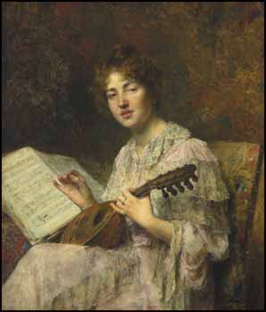 Portrait of a Girl with Mandolin by Alexej Alexejewitsch Harlamoff