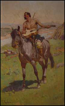 Rider on Horseback with Guitar by Frants (Franz) Roubaud