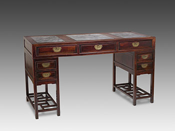 A Chinese Rosewood and Marble Inset Three-Piece Pedestal Desk, Late Qing Dynasty, 19th Century by  Chinese School