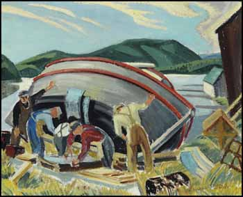 Repairing the Boat, Lake Superior / Untitled (verso) by Muriel Yvonne McKague Housser