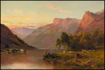 A Rosy June Evening - Loch Katrine by Alfred de Breanski Sr.