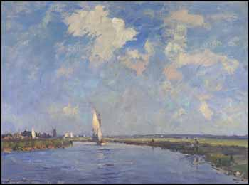 Sailing Yacht on the Thurne by Edward Seago