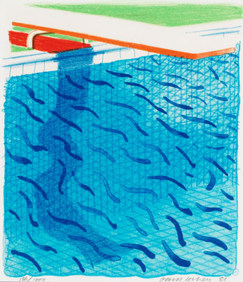 Pool Made with Paper and Blue Ink for Book by David Hockney