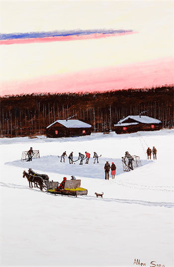 The Boys are Playing Hockey by Allen Sapp